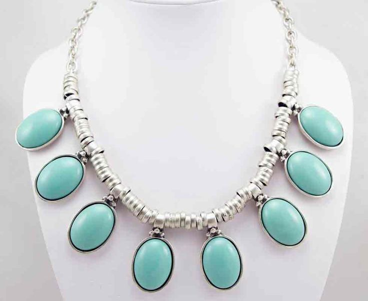 Silver turquoise necklace.  Model 1131T Available at wholesale prices from Wholesale Bazaar Australia.