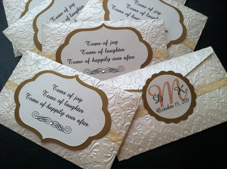 Super cute idea - tissue packs for the wedding ceremony instead of rice or birdseed....you know even your stone-cold uncle will need at least one :)