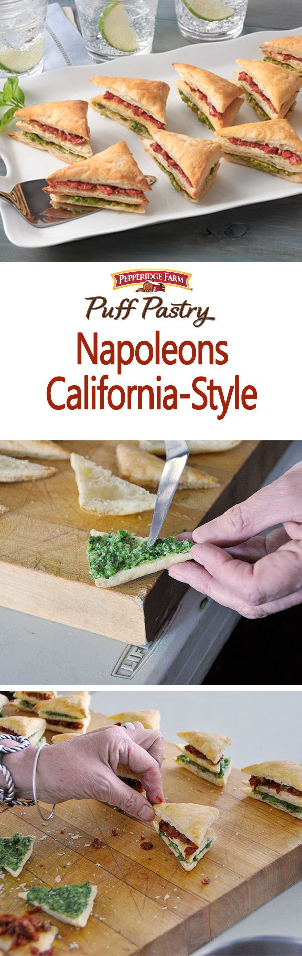Puff Pastry Napoleons California-Style Recipe. It's summer and we're celebrating with some summer-time treats! Make these light and refreshing Napoleons with layers of bright basil pesto and Italian sun-dried tomatoes. While traditionally rectangular, these Napoleons were cut into little triangles for perfect, bite-size appetizers. Serve with a spritzer and enjoy the sunshine!