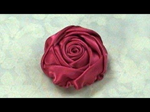 Sometimes you just have to SEE it done!   Ribon Rose, Tutorial, DIY, Quick and Easy DIY Rose Bud - YouTube