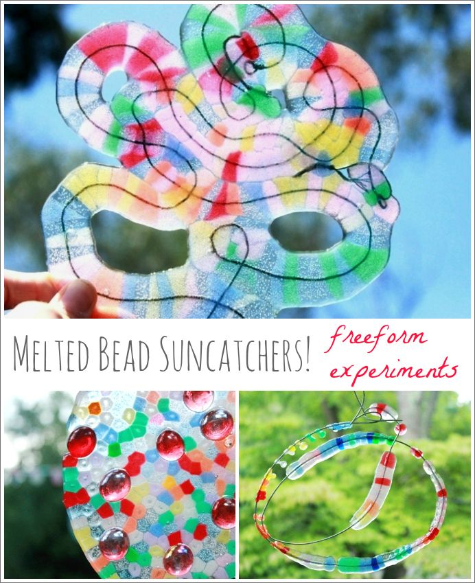 More Melted Bead Suncatchers! Fun free form experiments with melting plastic pony beads...
