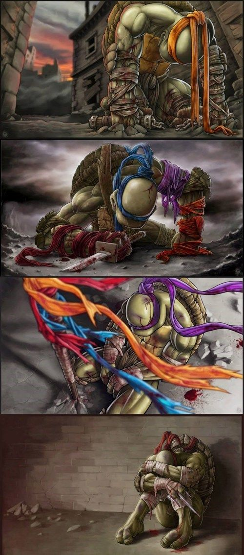 """Although i have never been much of a TMNT fan, (even though I did watch them from time to time in my childhood)..these images are creating a wave of feeellss....~~~~ """"Goodbye My Brothers"""" by Joao Pires"""