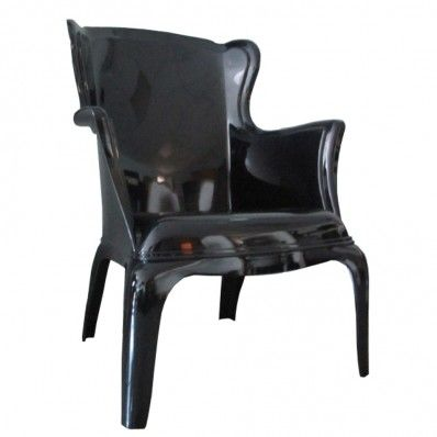 Phantom black wingback chair