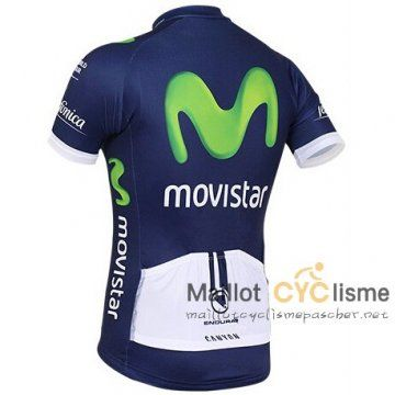 maillot Cyclisme pas cher Movistar 2016 Manche Courte bleu marine