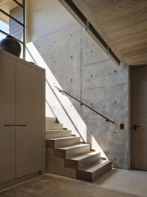 :: STAIRS :: adore this Washington Park Residence by Sullivan Conard Architects.  Inspired by the work of Tadao Ando.  A lovely soft palette of warm grays and beautiful wood floors an ceilings. Love the floors featured from Exquisite Surfaces. Lovely stair tread detail.  #stairs