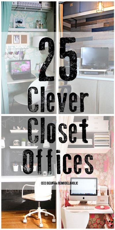 """Tuck away a workspace or put a guest room closet to work with a closet office. We've got 25 great """"cloffice"""" ideas to help you put your closet to work!"""