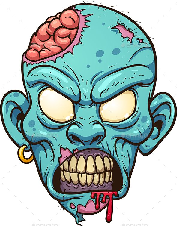 Cartoon zombie head. Vector clip art illustration …