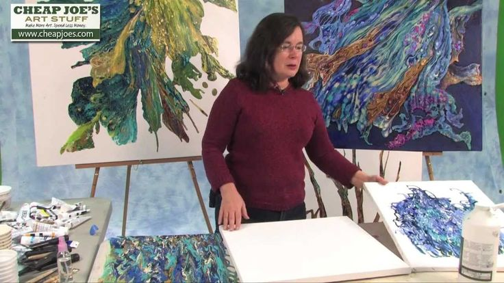 Debbie Arnold- Collaging with Poured Acrylic Skins, via YouTube.