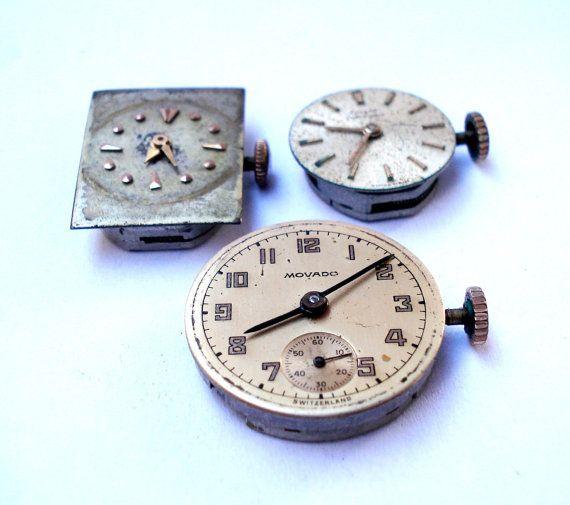 Antiguo Lote Relojes Suizos Tres Movimiento por shopvintage1