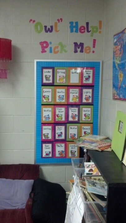 Owl themed roles in the classroom. 5757
