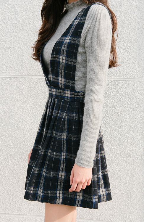 Plaid Suspenders Dress