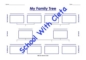 These worksheets are designed for both three (up to and including grandparents) and four generations (up to and including great grandparents).  In addition there are different versions of this so children can add their brothers and sisters into this (up to and including four kids).