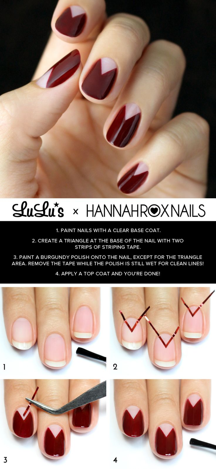 Our Burgundy Chevron Half Moon mani has taken us over the moon and back again! Follow our tutorial on the blog to recreate the look!