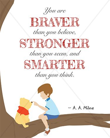 "A. A. Milne ""You are braver, stronger, and smarter"" Winnie the Pooh - 8x10 Instant Download Print Frame Wall Decor Printable DIY"