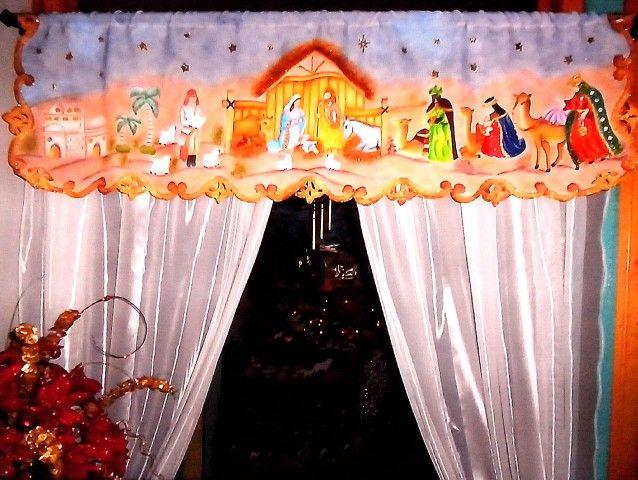 Cenefa navideña, Tecnica: Pintura sobre tela