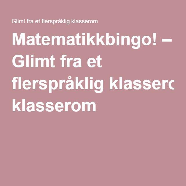 Matematikkbingo! – Glimt fra et flerspråklig klasserom