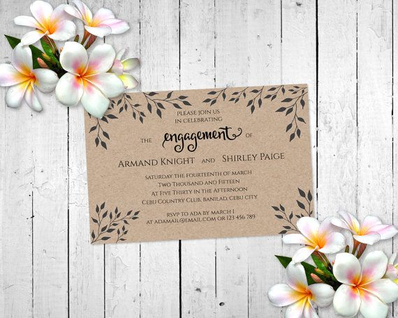 Rustic Wedding Engagement Invitation Card by MaryAnnColors on Etsy