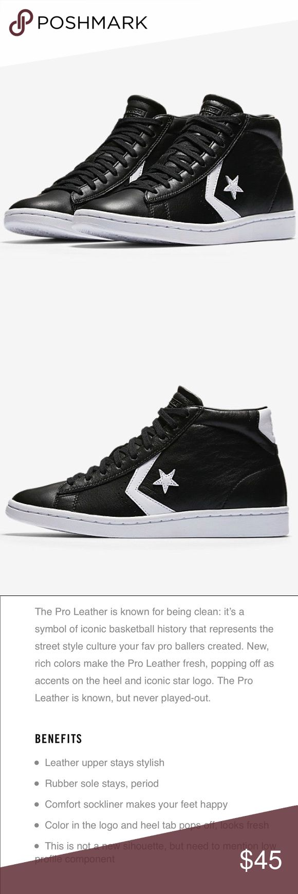 CONVERSE PRO LEATHER LOW PROFILE HIGH TOP VGYC! Worn once! Black leather. Converse Shoes Sneakers