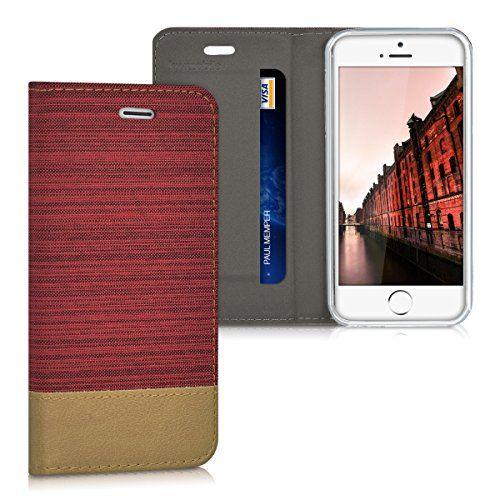 kwmobile Funda para Apple iPhone SE / 5 / 5S - Case con tapa cover de tela con cuero sintético - Carcasa plegable rojo oscuro marrón - http://www.tiendasmoviles.net/2017/08/kwmobile-funda-para-apple-iphone-se-5-5s-case-con-tapa-cover-de-tela-con-cuero-sintetico-carcasa-plegable-rojo-oscuro-marron/