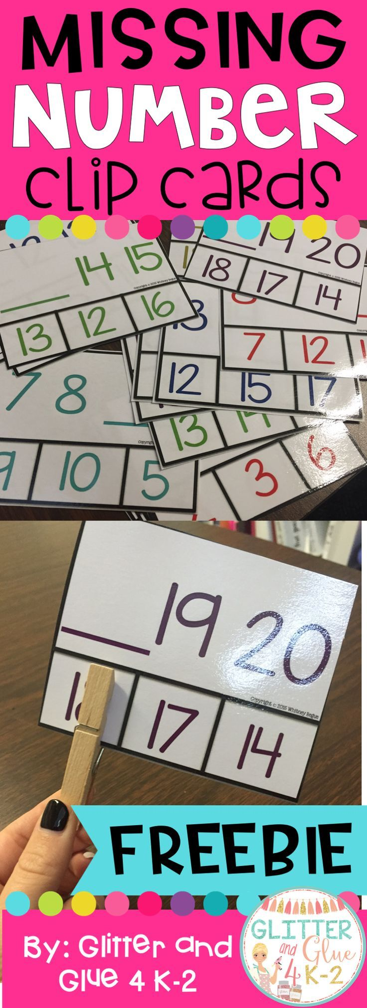 Missing number clip cards. Great math center or STEM box idea!