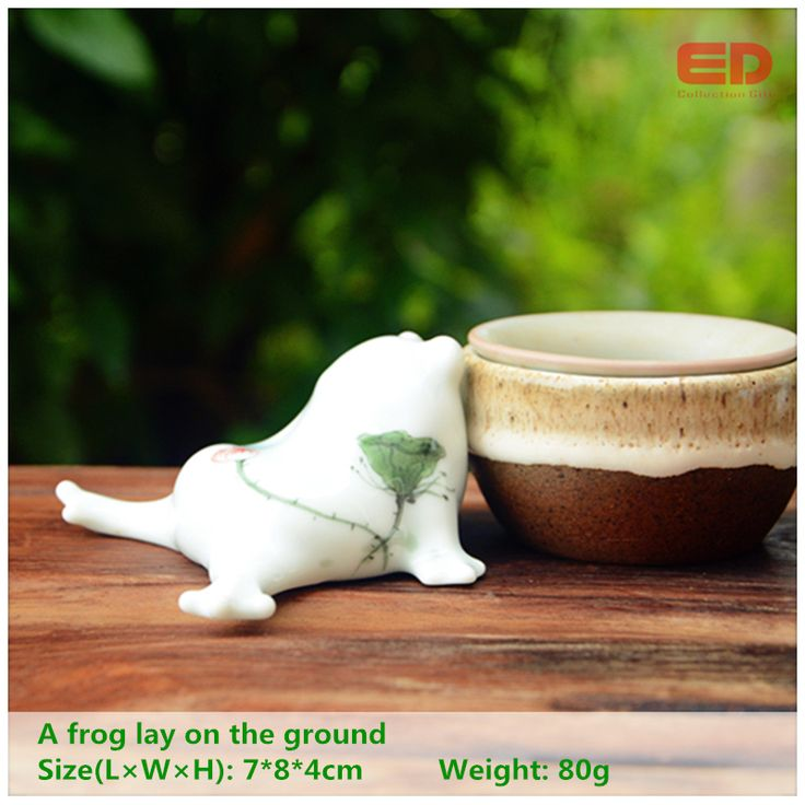 ED original design folk art cute hand painted ceramic/porcelain frog garden stone decoration accessories outdoor decoration