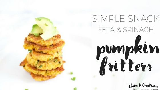 Spinach pumpkin feta fritters - healthy, wholefood snack or side dish that freezes well too.