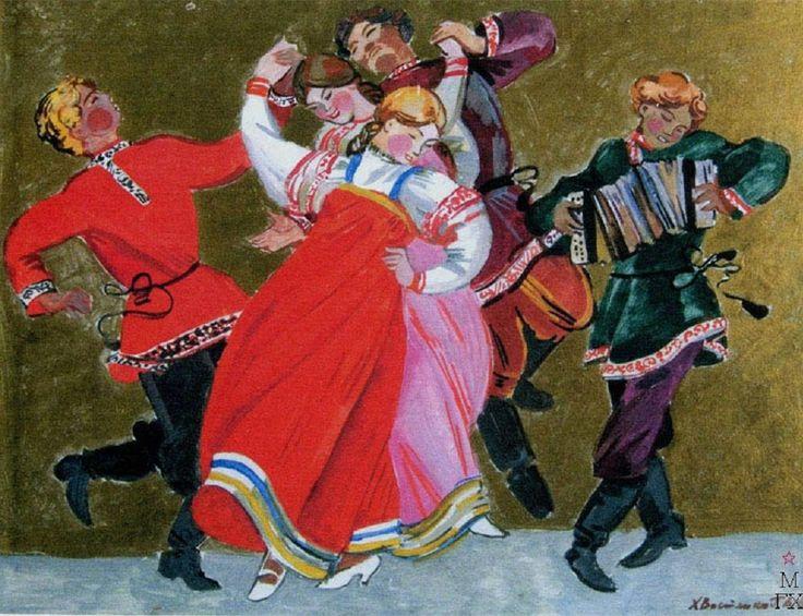 Russian costume in painting. Tatiana Khvostenko (1928 – 2005). Russian Dance. 1983. #art #painting #Russian #costume