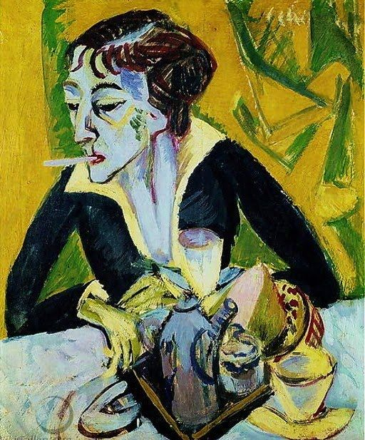 www.gorringeantiques.co.uk Erna with Cigarette, 1915 by Ernst Ludwig Kirchner (German Expressionist, 1880-1938)