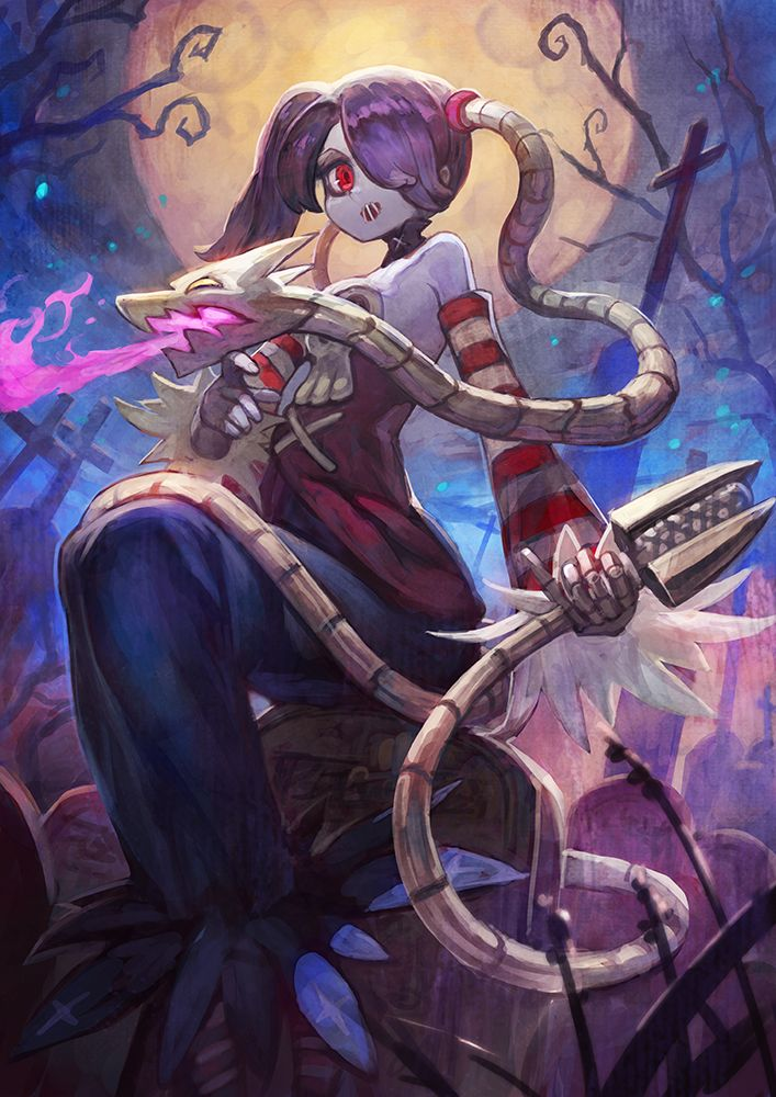 Squigly and Leviathan, SkullGirls artwok by Lack.