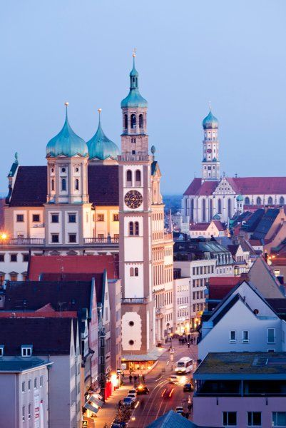 Augsburg, Germany - Maximillian Strasse with the Perlach Tower, Rathaus and St. Ulrich's Church, further down on the end