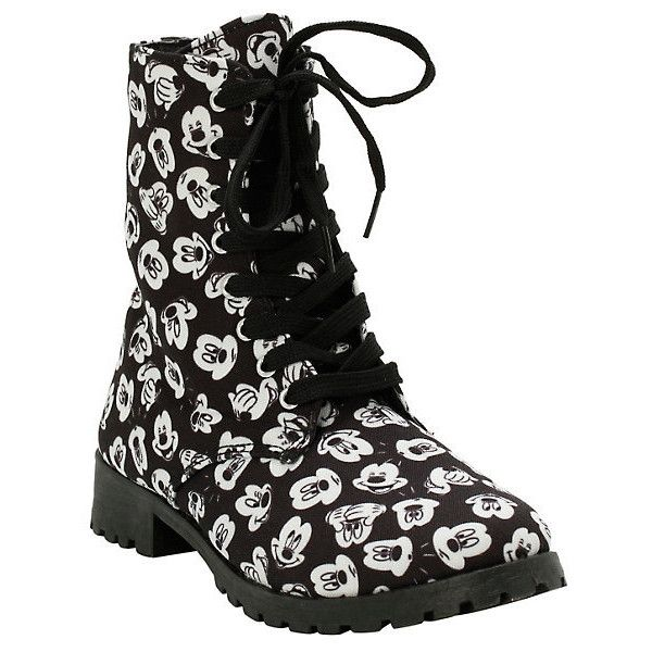 Disney Mickey Mouse Printed Boots Hot Topic (345 NOK) ❤ liked on Polyvore featuring shoes, boots, disney, disney shoes, mickey mouse boots and mickey mouse shoes