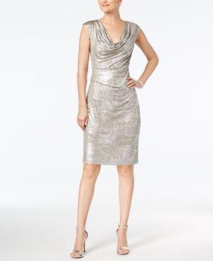 Connected Metallic Cowl-Neck Sheath Dress, Regular & Petite Sizes - Silver 14P