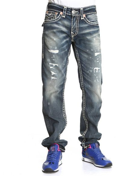 True Religion Men Ricky Straight Leg Flap Back Pckt Jeans- Granite Medium Wash 36