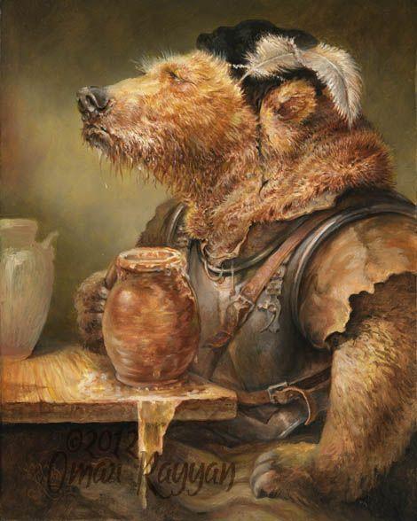 Omar Rayyan.                                                 Beer in stein bear, oil on panel, 2012.