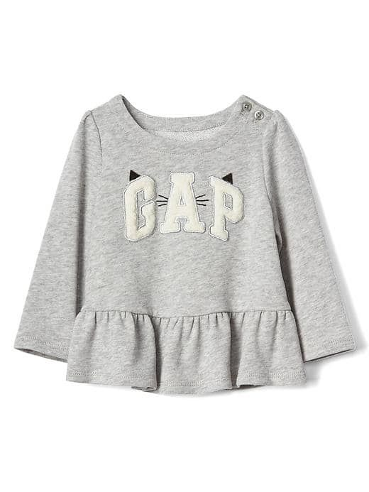 Kitten logo peplum sweatshirt