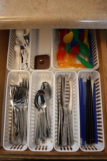 Utensil drawer organization, using dollar-store bins