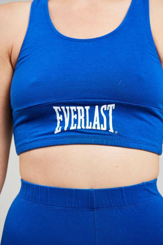 1990s Everlast Blue Cotton High Waist Boxing Suit Set S