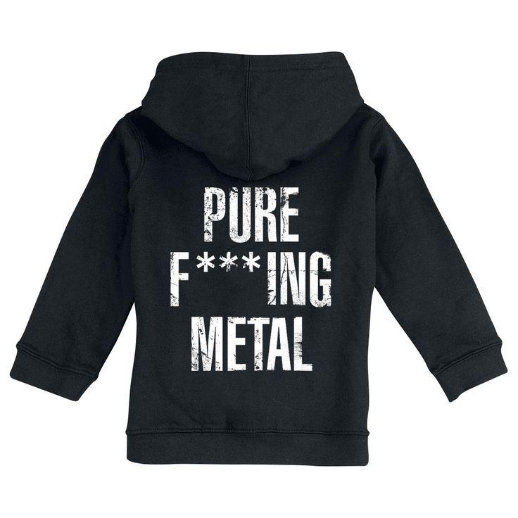 """Felpa bimbo/a nera """"Pure Fucking Metal"""" degli #ArchEnemy dotata di cappuccio con coulisse, cerniera, 2 tasche laterali, orlo e polsini a costine, piccola stampa frontale e ampia stampa sul retro."""