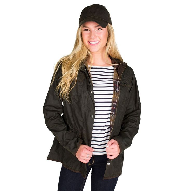 Ladies Utility Waxed Jacket in Olive Green by Barbour - FINAL SALE