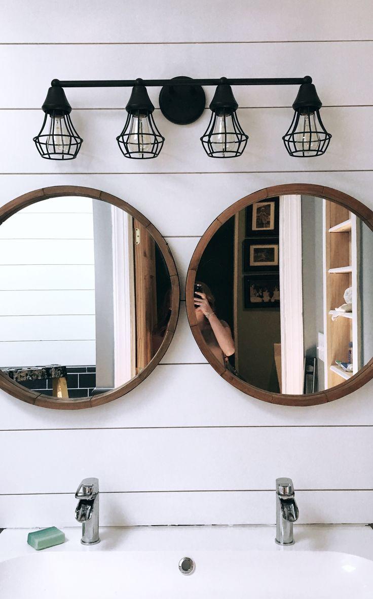 rustic bathroom, circle mirror, cage lights, vanity, Ikea sink, bathroom