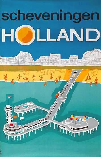 Scheveningen Holland | Vintage travel poster | European travel