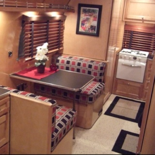 Cute Airstream interior, but that diner set up would look great in any tiny home.