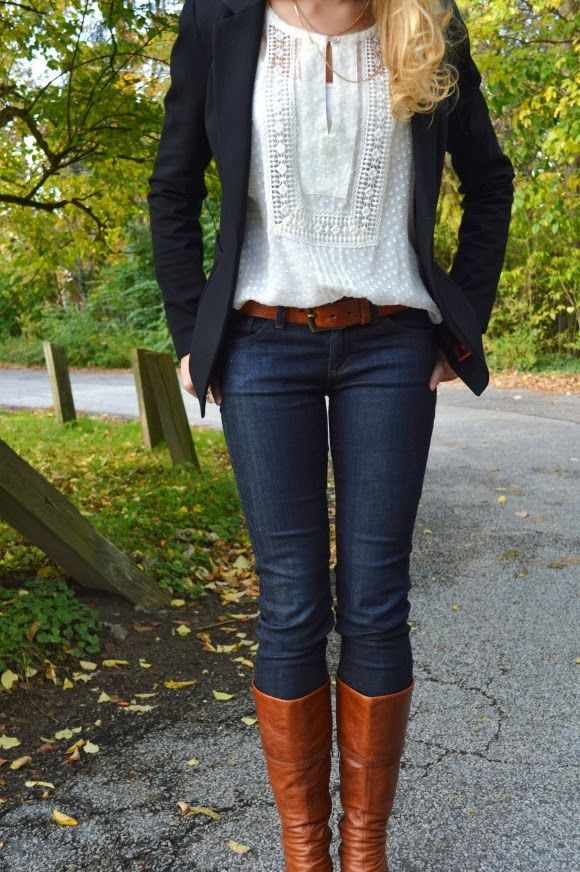 Lace top, blazer, jeans and long boots for fall, but with a sweater instead of the blazer