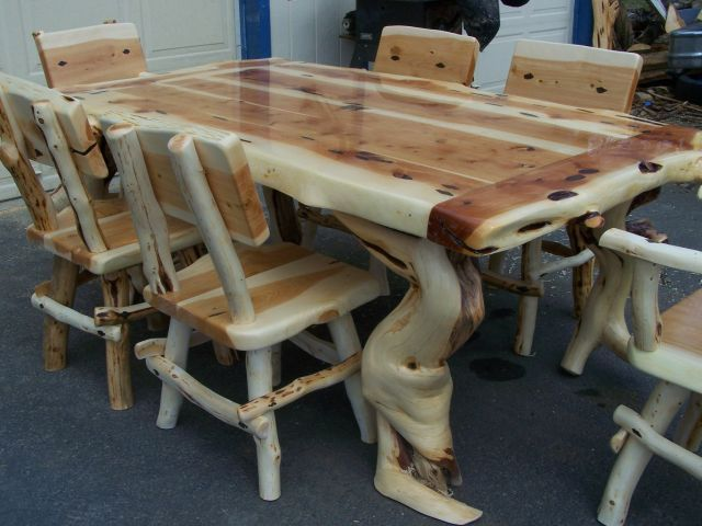 Custom Built Juniper Dining Tables http://www.logfurnitureguy.com hand crafted log furniture