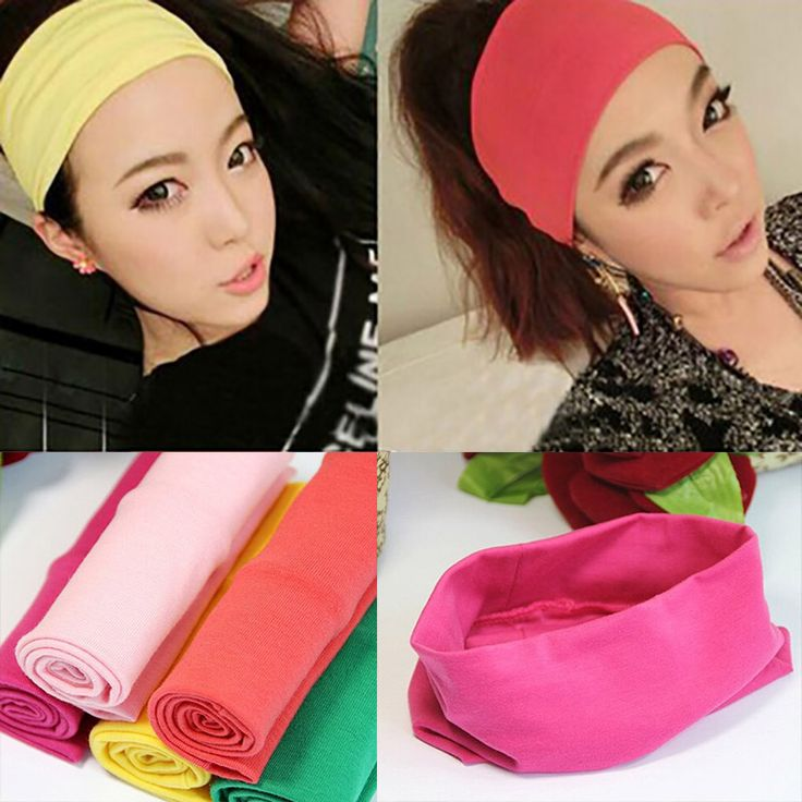 Fashion women headwear candy color hair ribbon sport cotton wide headband popular Summer absorb sweat Yoga hair band for girls