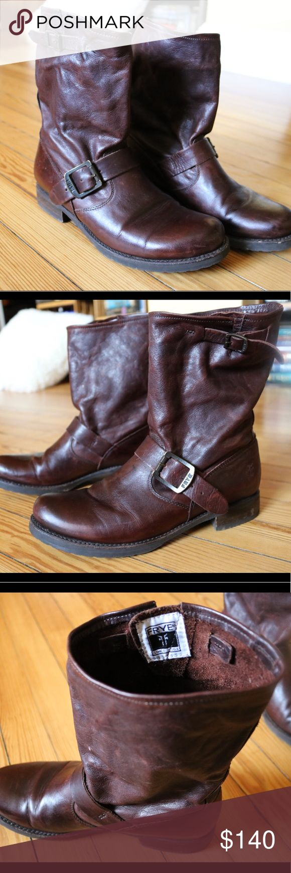 Frye Veronica short moto Boots Beautiful deep mahogany moto Boots by Frye. In excellent condition, barely worn. Minimal scuffing. These are the shorter version of the Veronica slouch boot. The shaft is roomy. Frye Shoes