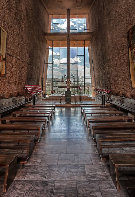 Inside Chapel of the Holy Cross Sedona, AZ HDR by Dave Toussaint