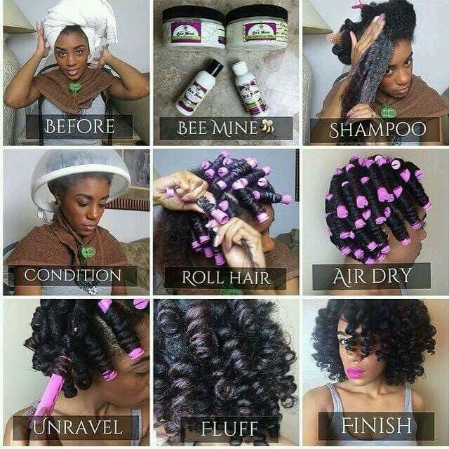 How to do a perm rod set on natural hair