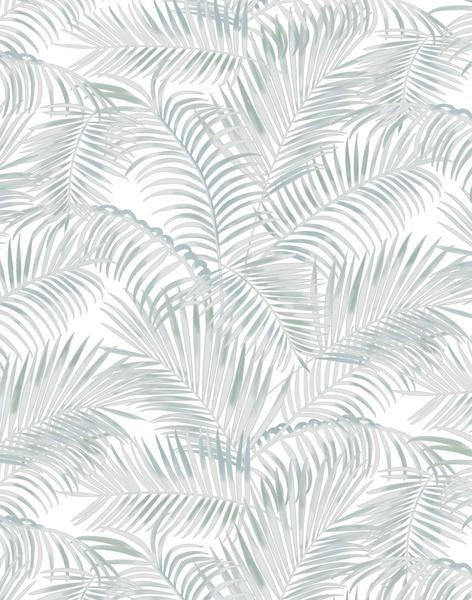 Majestic Palm Wallpaper - light sage & grey