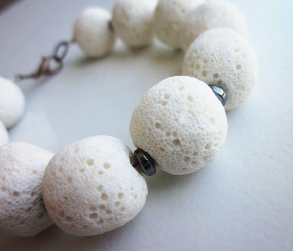 Lava Stone Bracelet with Hematite. by philosophiacreations on Etsy, $28.49